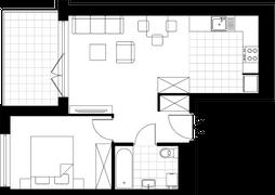 Rzut pomieszczeń E1.100.M05 Mieszkaj w Mieście Wizjonerów