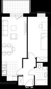 Rzut pomieszczeń 42 Aleja Pokoju - ul. Na Łąkach 9