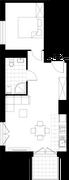 Rzut pomieszczeń F1.107.M02 Mieszkaj w Mieście Kompozytorów