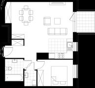 Rzut pomieszczeń H4.100.M02 Mieszkaj w Mieście Aktorów